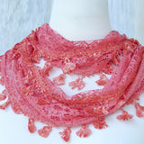 Lace Feather Scarf - Coral