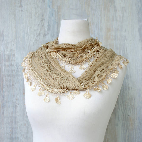 Lace Feather Scarf - Nude