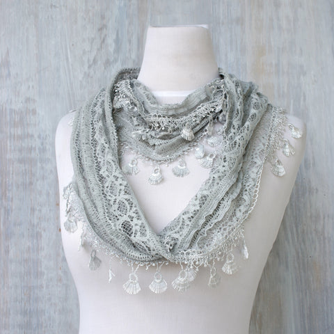 Lace Feather Scarf - Silver