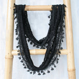 Lace Feather Scarf - Black