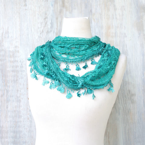 Lace Feather Scarf - Aqua