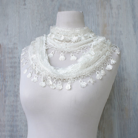 Lace Feather Scarf -  White