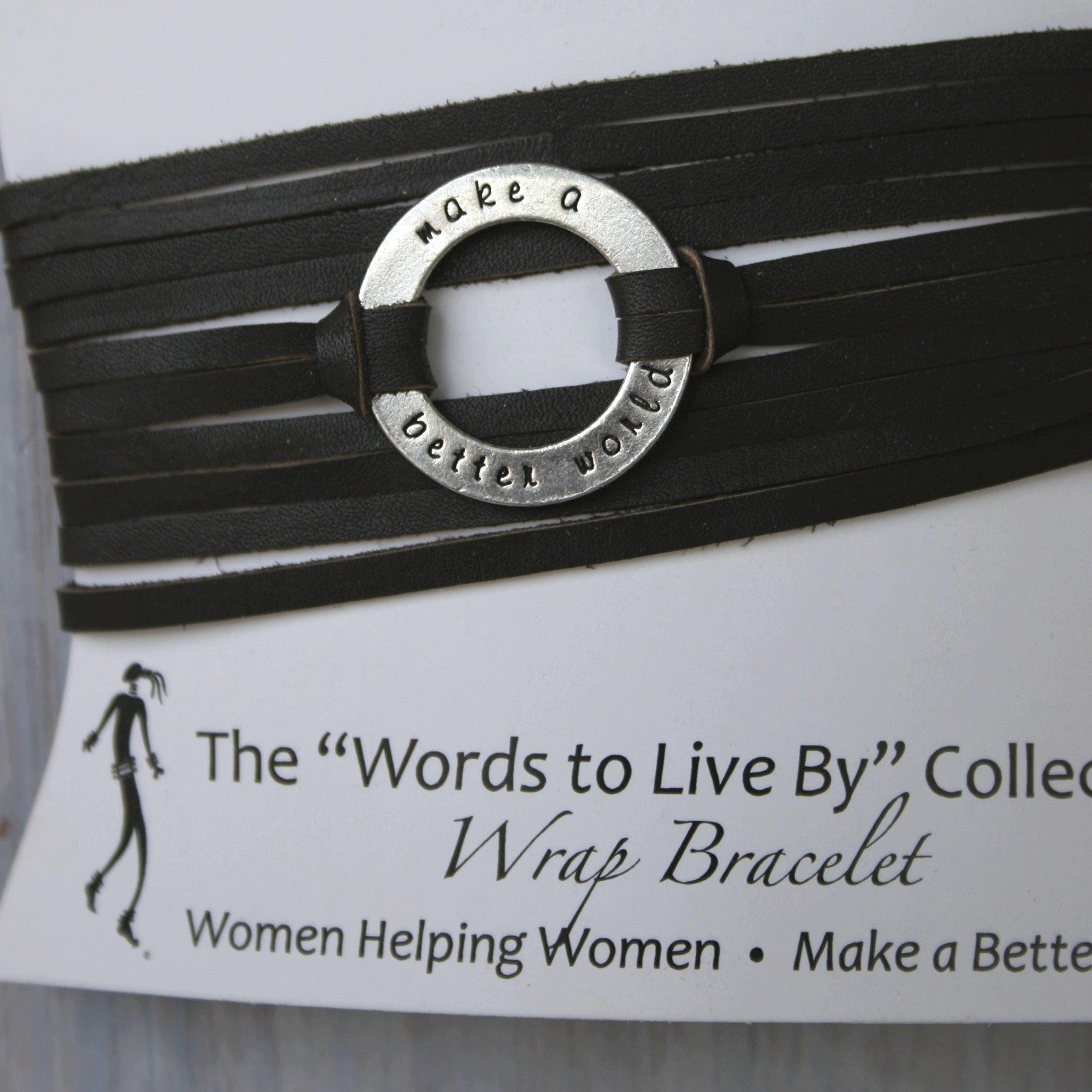 Leather Wrap Bracelet  Words To Live By