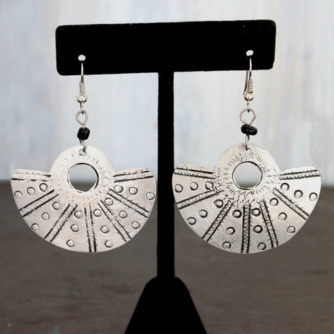 Hand-Crafted Raw Aluminum Earrings - Fan
