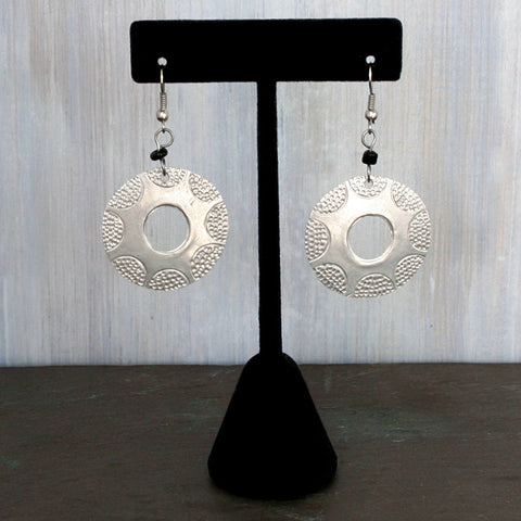Hand-Crafted Raw Aluminum Earrings - Stamped Circle