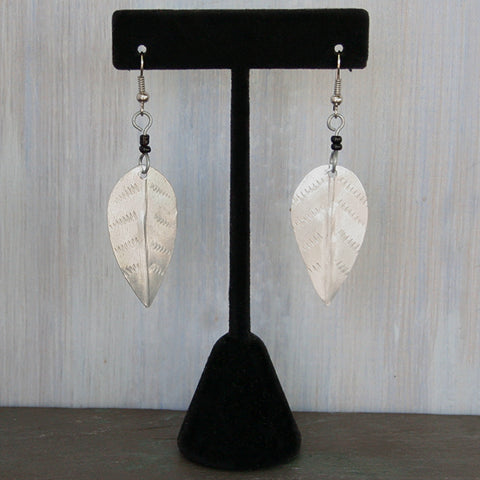 Hand-Crafted Raw Aluminum Earrings - Short Leaf