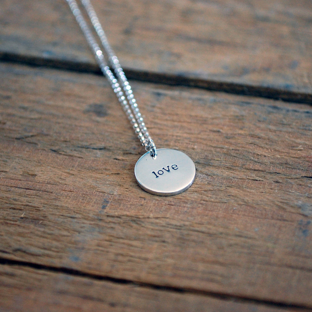 Sterling Silver Hope/Love Double Sided Necklace