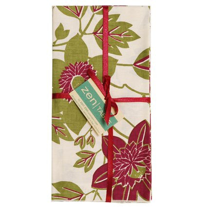 Fair Trade Cotton Table Napkins from Bali  - Set of 4 Passion Flower