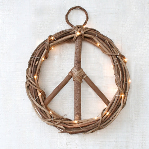 Peace Wreath with Fairy String Lights - Handcrafted