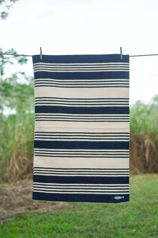 Hand-Loomed Striped Rug - Blue and White