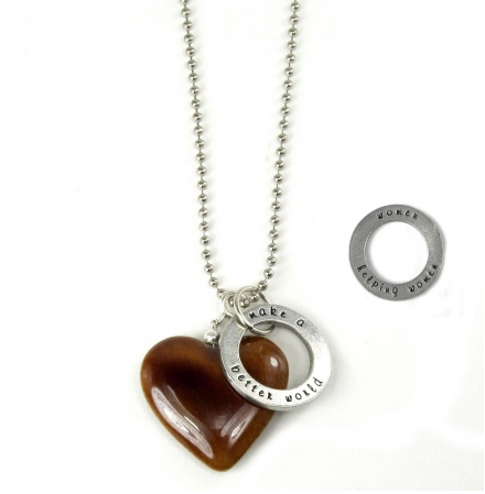 Words to Live By/Make A Better World Carmel Heart Necklace
