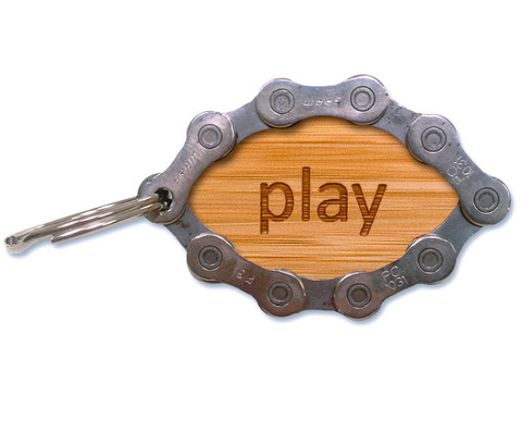 Engraved Oval Bamboo Bike Chain Keychain