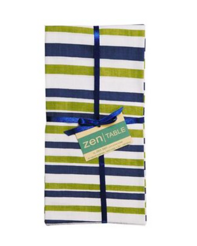 Fair Trade Cotton Table Napkins from Bali  - Set of 4 Nautical Stripe