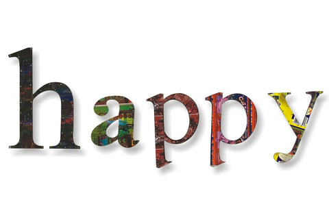 Recycled Tin Words - Happy