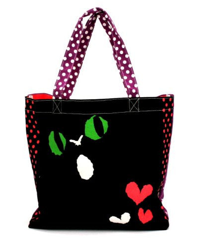 Large Tote Bag - Black Cat And Fish Graffiti