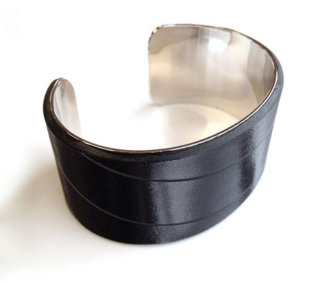Cuff Bracelet made of Recycled Black Vinyl Records