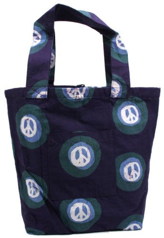 Large Fair Trade Tote Bag - Peace Eggplant