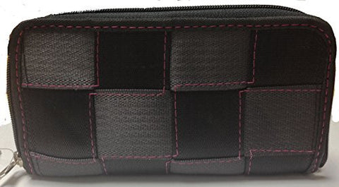 Global Girlfriend Seat Belt Wallet - Black With Fuschia Stitching