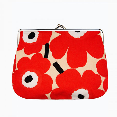 Marimekko Mini Unikko Purse - Beige/Red/Off White
