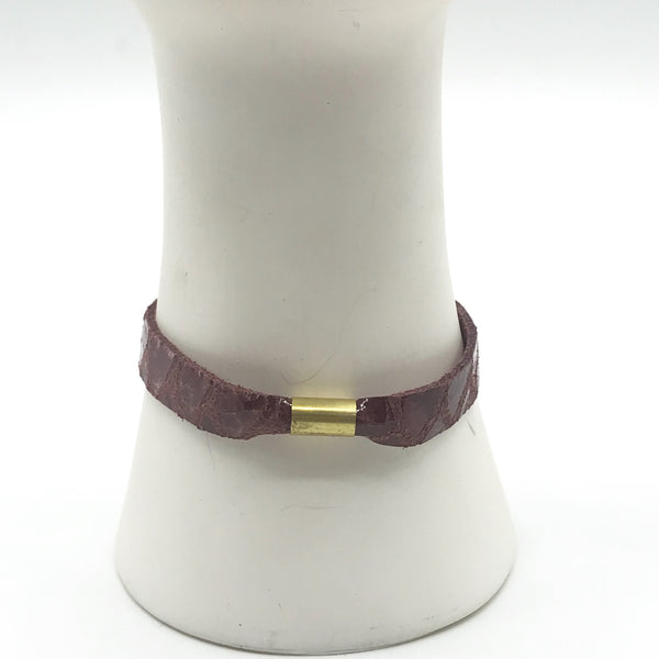 Permanent Baggage Leather Tube Bracelet