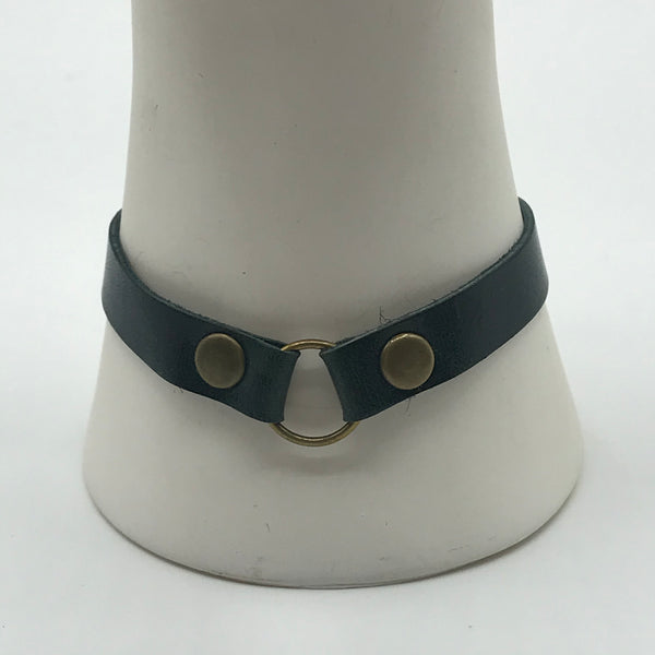 Permanent Baggage Ring Leather Bracelet