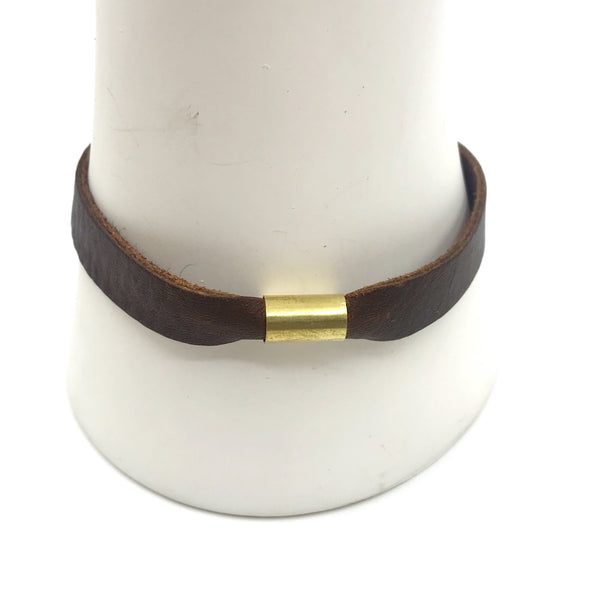 Permanent Baggage Tube Leather Bracelet