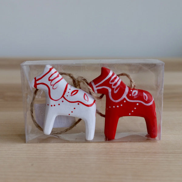 Wooden Dala Horse Ornaments, set of 2