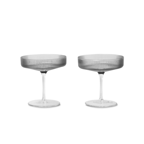 Ferm Living Ripple Champagne Saucers - Smoked