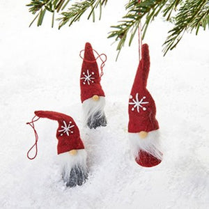 Red & Grey Gnome Ornaments, Set of 3