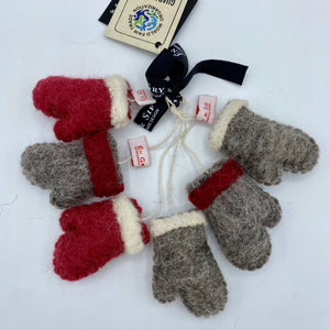 Én Gry & Sif Felt Mittens Ornament, Set of 6