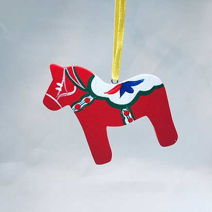Flat Wooden Dala Horse Ornament