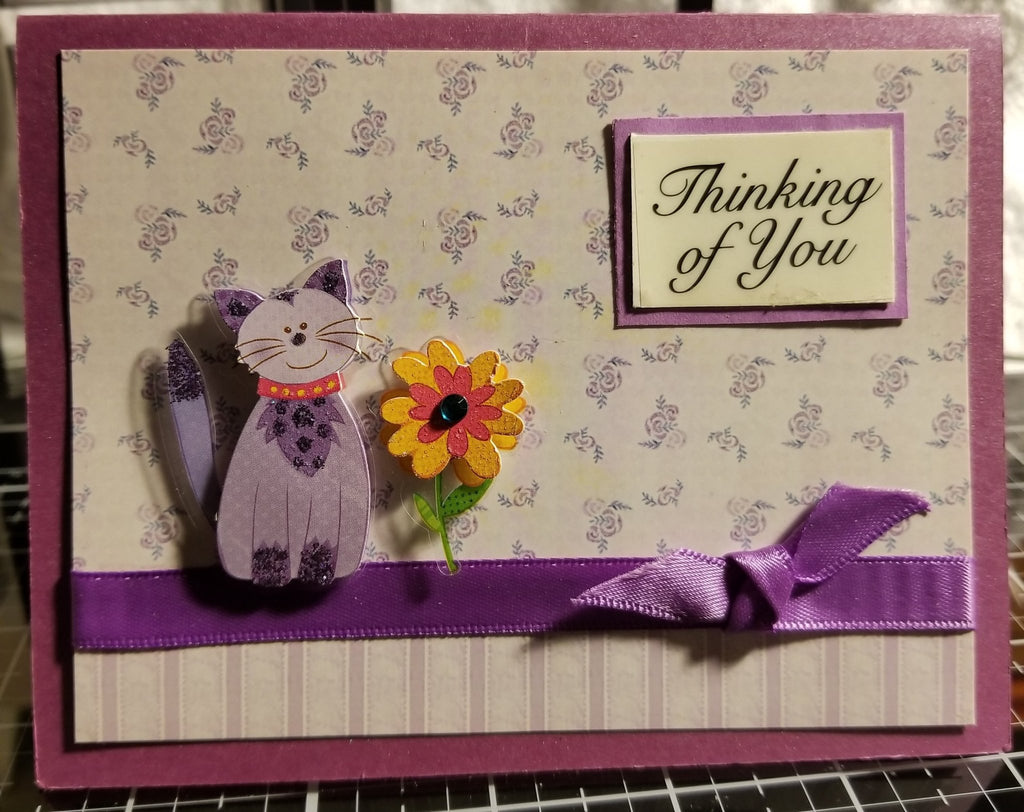 Thinking Of You With Cat Bird Handmade Good Greeting Supply Card CLEARANCE