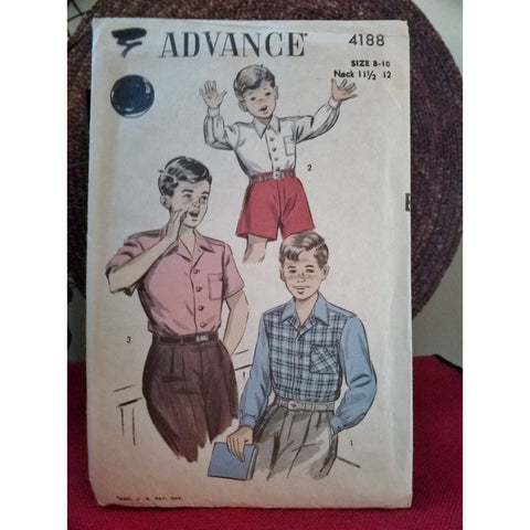 Advance 4188 Pattern Vintage Boy Shirts Long Sleeve or Short Sleeve