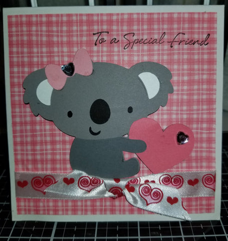 Bear Holding Heart Handmade Good Greeting Supply Card CLEARANCE
