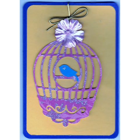Bird In Cage (w) Handmade Good Greeting Supply Card - Cards And Other Paper Products - Made In U.S.A. - SharPharMade - 1