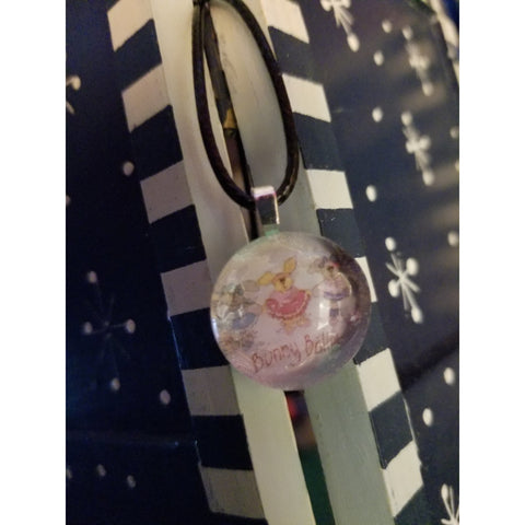 Bunny Ballet Handmade Good Flat Back Glass Marble Necklace 💋