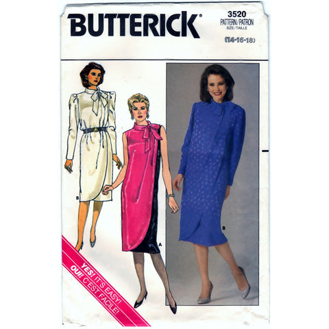 Butterick 3520 Pattern Vintage Misses Dress (Dressy/Evening Attire)