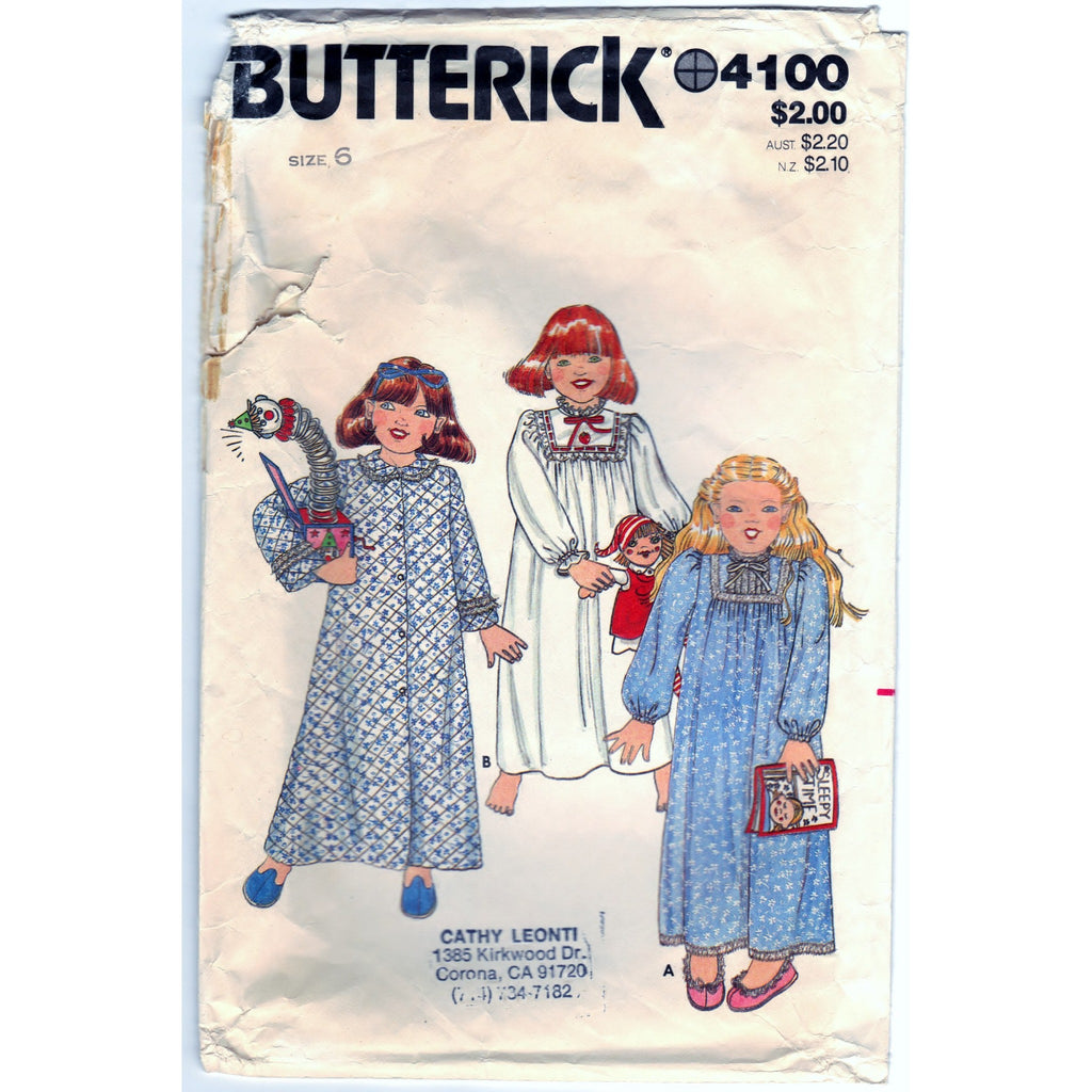 Butterick 4100 Pattern Vintage Toddler Robe And Nightgown
