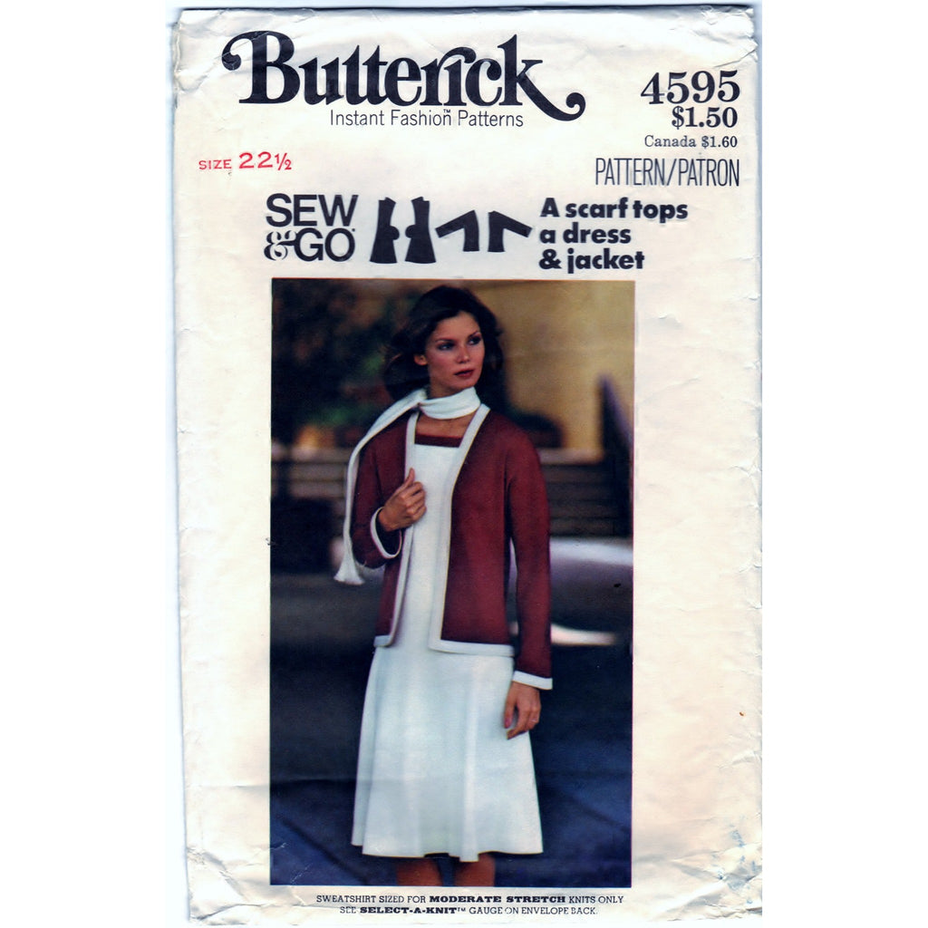 Butterick 4595 Vintage Pattern Half-Size Jacket, Dress, and Scarf