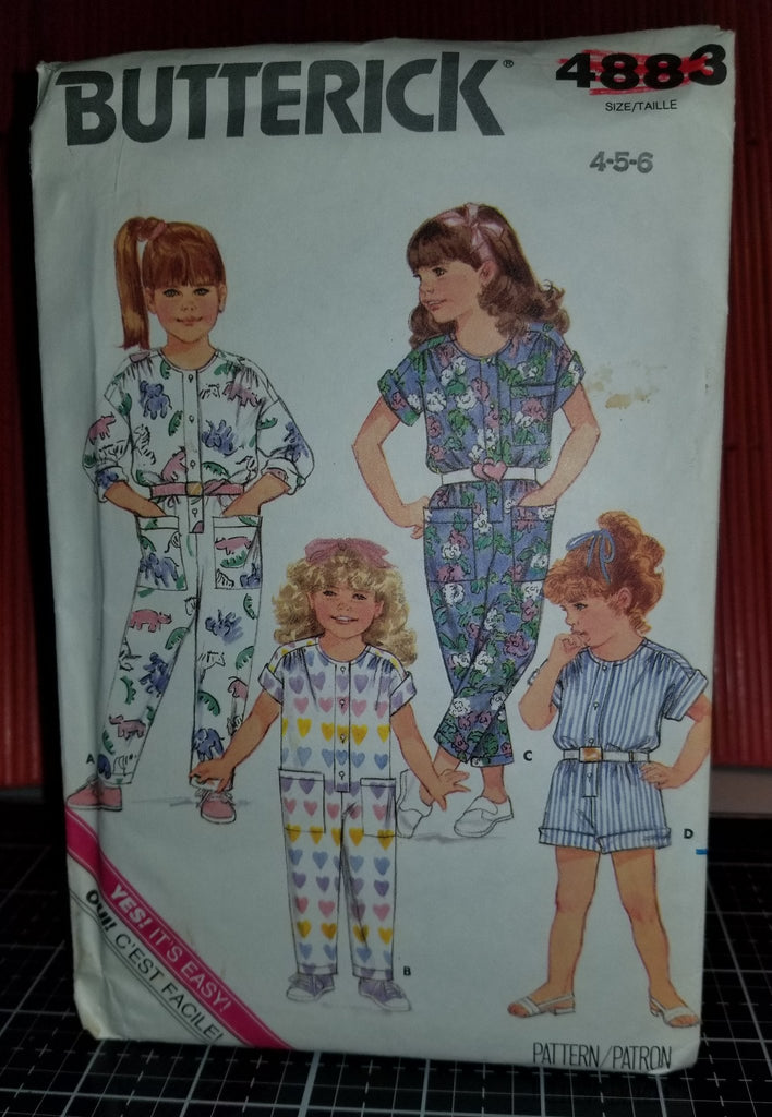 Butterick 4883 Pattern Vintage Toddler Children Jumpsuit