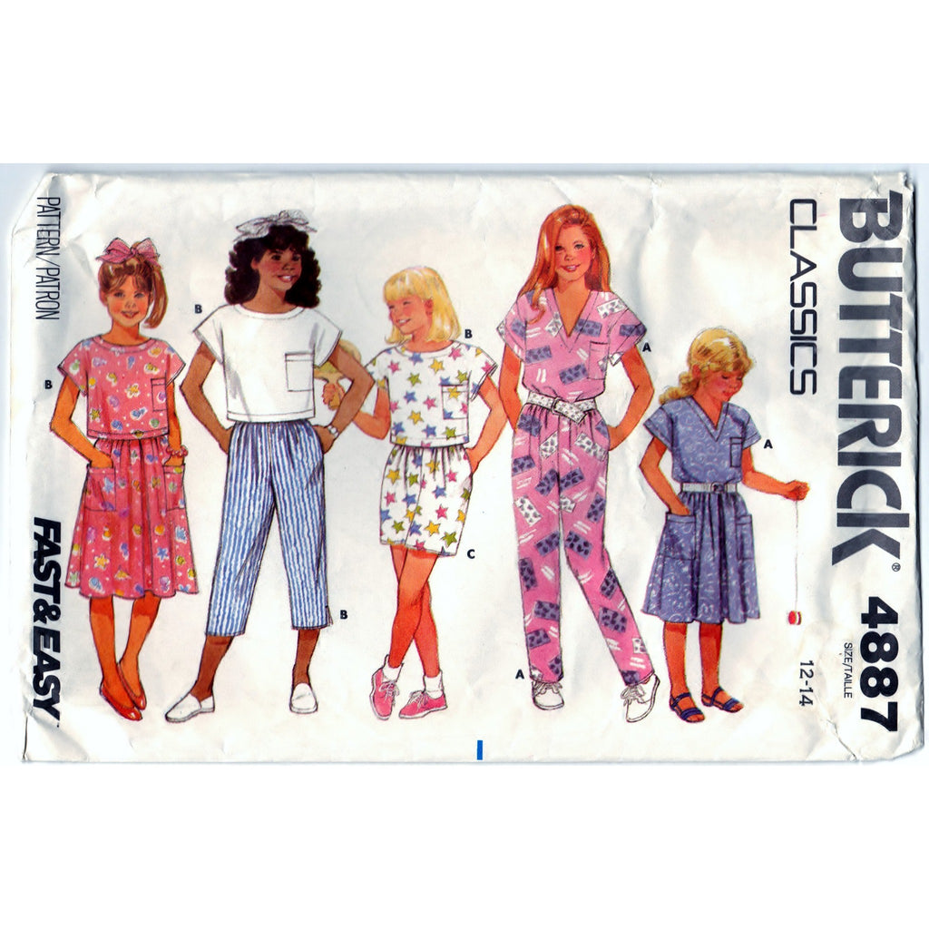Butterick 4887 Classics Pattern Childrens Vintage Girls Top, Pants, Shorts And Skirt