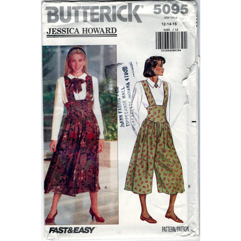 Butterick 5095 Vintage Pattern Misses Jumper, Jumpsuit And Top
