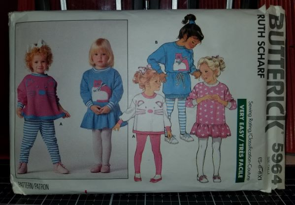 Butterick 5964 Pattern Vintage Children Dress, Top, And Leggings