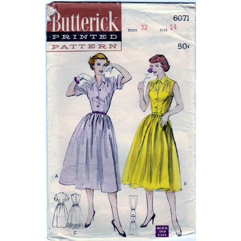 Butterick 6071 Pattern Dress Quick and Easy Vintage One Piece Casual