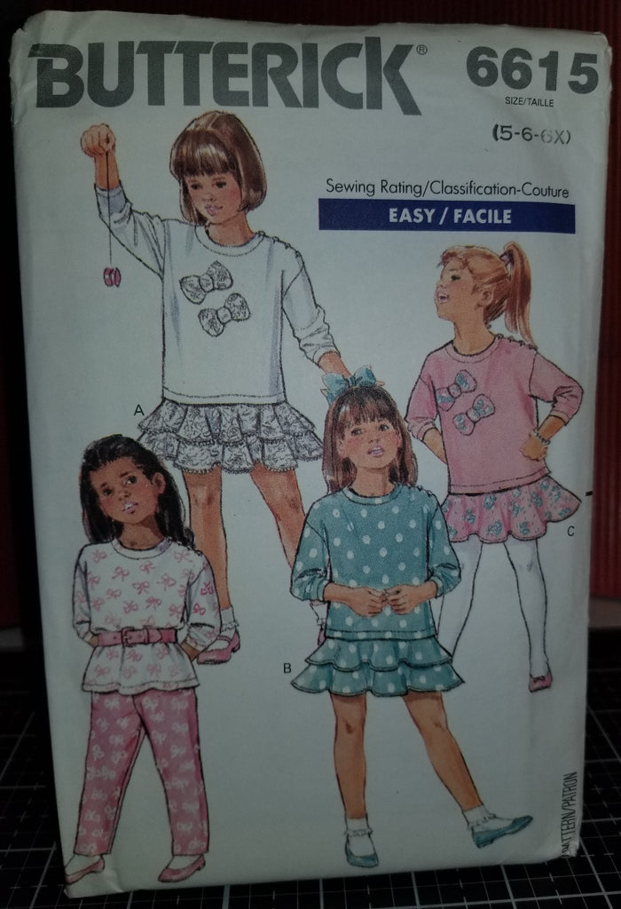 Butterick 6615 Pattern Vintage Childrens Top, Skirt And Pants