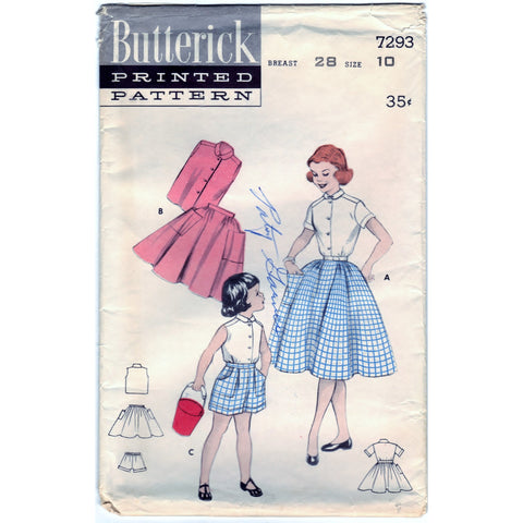 Butterick 7293 Pattern Vintage Girls Separates Elastic Waist