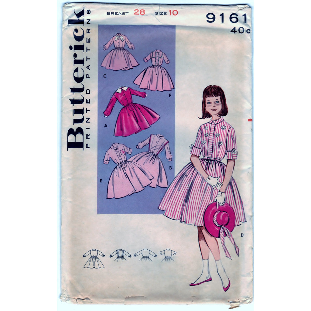 Butterick 9161 Pattern Vintage Girls Shirtwaist - Tailored