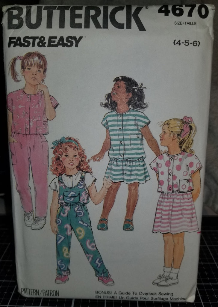Butterick Fast&Easy 4670 Pattern Vintage Toddler Children Jumpsuit Dress Top Skirt Pants