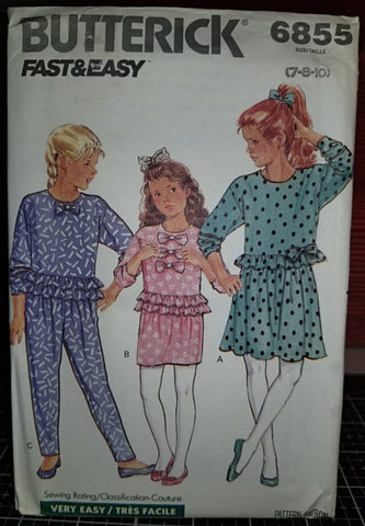 Butterick Fast&Easy 6855 Pattern Vintage Girls Top, Skirt And Pants