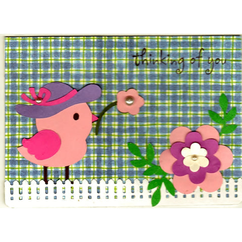 Chicky Thinking Of You Handmade Good Greeting Supply Card - Cards And Other Paper Products - Made In U.S.A. - SharPharMade - 1